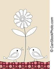 Two cute birds and a flower on beige background, illustration