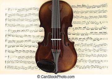 violon, musique, feuille