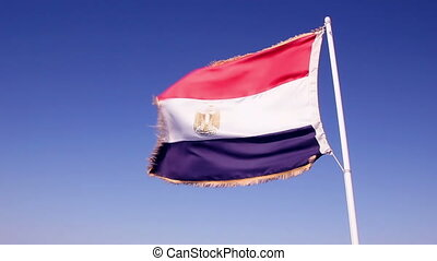 Egypt flag on boat flying in the wind