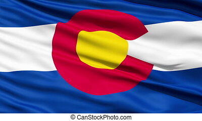 Waving Flag Of The US State Of Colorado with a stylised...