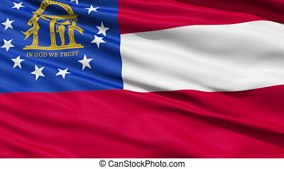 Waving Flag Of The US State of Georgia with the state coat...