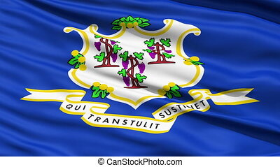 Waving Flag Of The State Of Conneticut with a white Baroque...