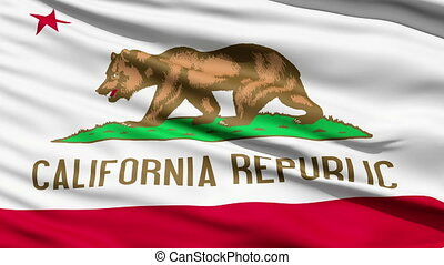 Waving Flag Of The US State Of California, also known as the...