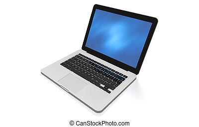 Modern laptop with abstract background on the screen
