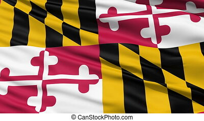 Waving Flag Of The US State of Maryland with the heraldic...