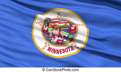 Waving Flag Of The US State of Minnesota with the official...