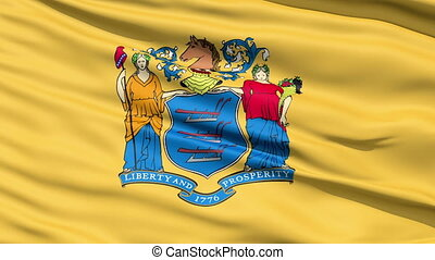 Waving Flag Of The US State of New Jersey bearing the Great...