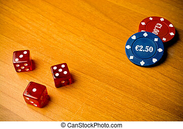 dice and gambling chips