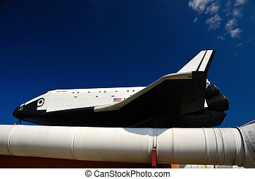 Space Shuttle orbiter Pathfinder and solid rocket booster.