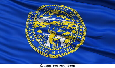 Waving Flag Of The US State of Nebraska with the official...