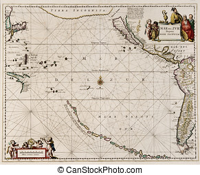 Pacific ocean old world map - map made in 1650 by Frederick...