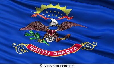 Waving Flag Of The US State of North Dakota