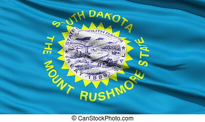 Waving Flag Of US State Of South Dakota with the official...