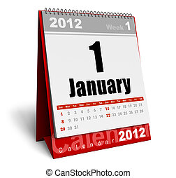 Desktop calendar 2012 isolated on white background