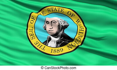 Waving Flag Of State Of Washington - Waving Flag Of...