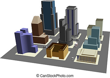 Cityscape - Illustration of 3D view of 9 blocks of a model...