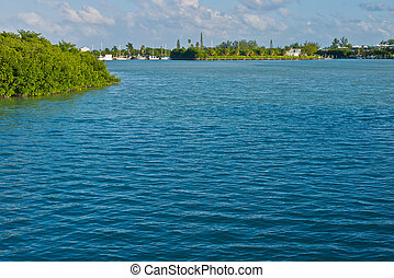 Florida Keys - Water creates copy space in the Florida Keys