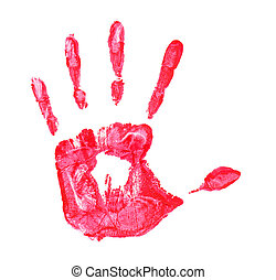 Colorful hand_0142jpg - Close up of red hand painted...