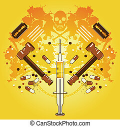 Death and drugs - Grunge background with drug paraphernalia