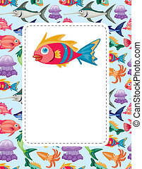 cartoon aquatic animal card