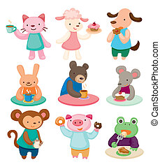 cartoon animal tea time set