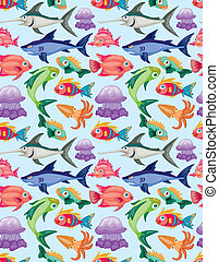 cartoon aquatic animal seamless pattern