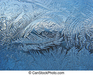 Frosty pattern on pane - Ice on pane - beautiful frosty...