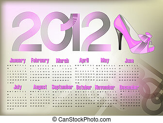 Calendar 2012 - Stylish abstract calendar on 2012 year with...