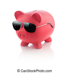 Piggy Bank - Picture of a piggy bank with sunglasses.