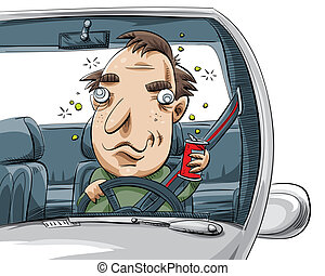 Drunk Driver - A cartoon man driving drunk