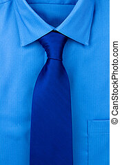 Shirt and a tie - Blue shirt with dark blue tie
