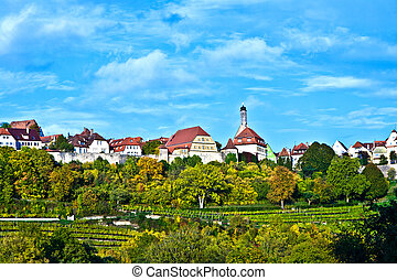 Rothenburg ob der Tauber, old famous city from medieval...