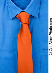 Shirt and a tie - Blue shirt with orange tie