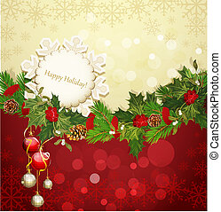 festive Christmas garland - festive background with...