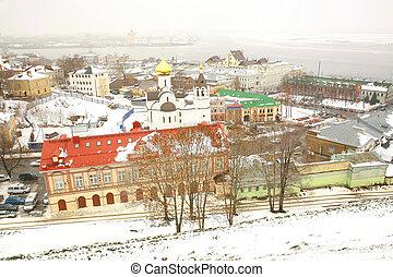 November mist view Nizhny Novgorod Russia