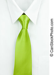 Shirt and a tie - White shirt with green tie