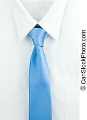 Shirt and a tie - White shirt with light blue tie