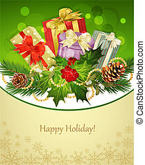 holiday background, tree, pine cones, holly and the frame
