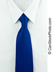 Shirt and a tie. - White shirt with blue tie.