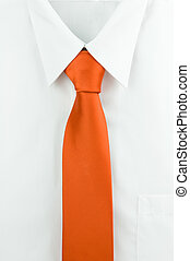 Shirt and a tie - White shirt with orange tie