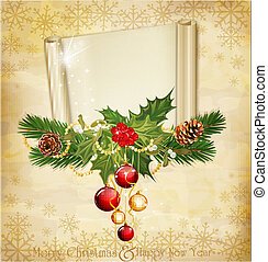 vintage holiday invitation with scroll,pine cones,holly