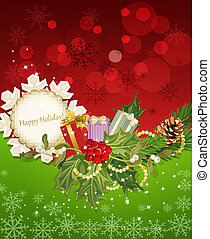 background with Christmas garland