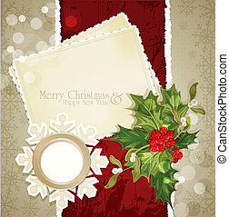 vintage retro christmas background with sprig of European