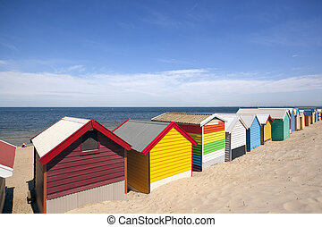 Melbourne Beach Boxes - Beach boxes at Brighton Beach,...