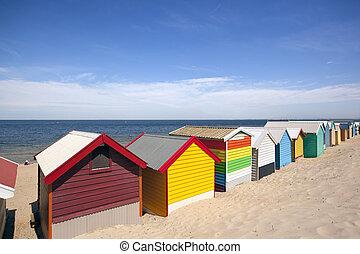 Melbourne Beach Boxes - Beach boxes at Brighton Beach,...