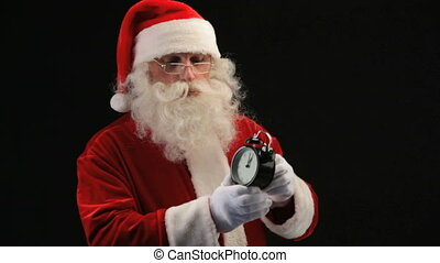 Santa with clock - Santa pointing at clock as if reminding