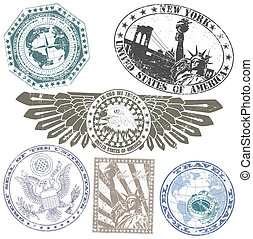 Set of American stamps