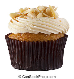 A Luxury Cup Cake with almond chip and cream topping