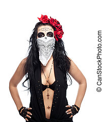 Serious woman in day of the dead mask hide face - Young...