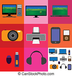 Electronic gadgets- tv,computer,camera,printer,laptop,phone...